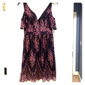 Venus Navy purple Embroidered Lace mesh dress